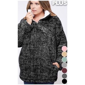 ❄️PLUS SIZE//SPECKLED CHARCOAL SHERPA PULLOVER